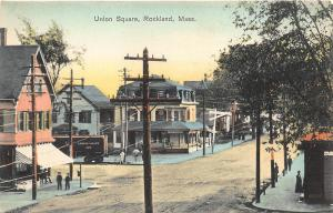 Rockland MA Union Square Storefronts Lehigh Valley Railroad Boxcar Postcard