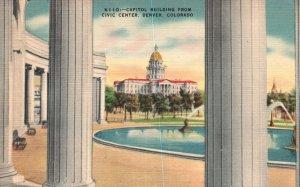 Vintage Postcard 1930's Capitol Building From Civic Center Denver Colorado TDNC
