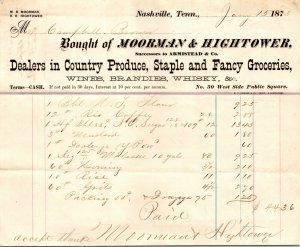 Moorman Hightower Produce Staple Groceries Wine Whisky Nashville TN Invoice 1873
