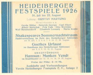 Heideiberger Feltspiele 1926