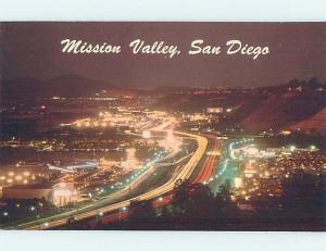 Unused Pre-1980 MISSION VALLEY AT NIGHT San Diego California CA F8697