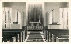 1930s St Matthews Church interior Millbrook Jersey postcard 2109