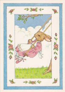 AS: Swinging by Susan Whited LaBelle, Rabbit on a swing hanging from a tree, ...