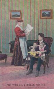 No Wedding Bells For Me Vintage Marriage Bad Relationship Comic Humour Postcard