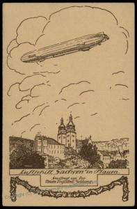 Germany Zeppelin Sachsen Airship Over Plauen Town View Postcard 73568