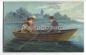 su2863 - Romantic Couple in a Rowing Boat & Verse, Artist Unknown - postcard