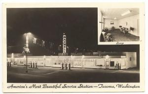 Tacoma WA Maxwell America's Most Beautiful Service Station Real Photo Postcard