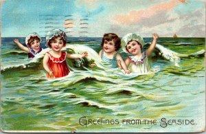 Children Greetings from the Seaside Atlantic Tuck Raphael Tuck & Sons Postcard
