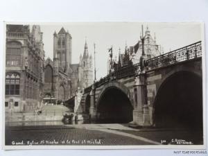 c1930's Belgium RP - Gent - Gand - Eglise St Nicolas et le Pont St Michel
