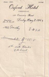 Oxford Garage Hotel Derby 1943 WW2 Receipt
