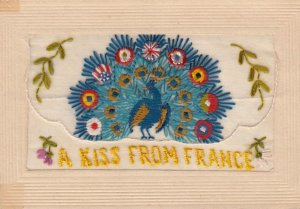 Embroidered 1914-18 ; Allied Peacock , A Kiss from France