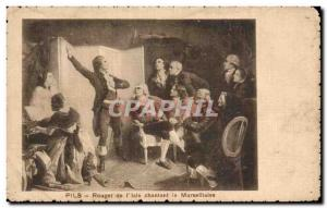 Postcard Old Pils Rouget I Isle singing the Marseillaise Folklore