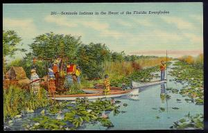 Seminole Indians & Everglades Miami FL unused c1930's