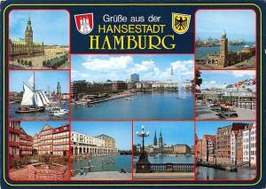 Hamburg multiviews Rathaus Town Hall Harbour Schiff Ship Hafen Panorama