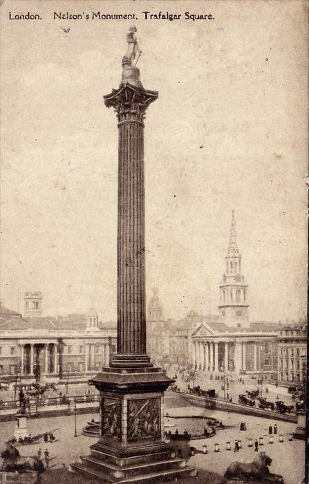 London. Nelson´s Monument , Trafalgar Square , England , PU-1916