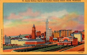Washington Seattle Railway Depots and Southern Business District Curteich