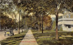Buffalo New York~Delaware Avenue~Sidewalk in Front of Houses~Cars in Street~1910