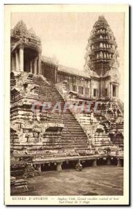Old Postcard Ruins D & # 39Angkor Angkor Anglor vath large central staircase ...