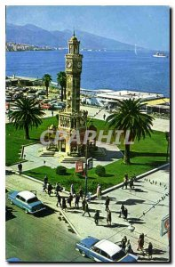 Postcard Modern Konak Meydani ve Saat kulesi Izmir