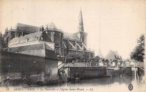 France Armentieres - La Passerelle et l'Eglise Saint-Waast CPA