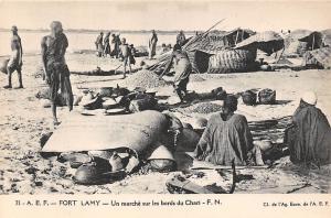 Chad Tchad N'Djamena Fort Lamy Marche sur les bords du Chari, Market Commerce