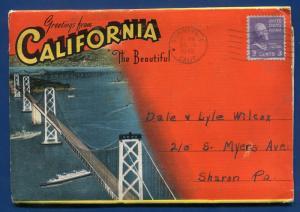 California ca Beautiful Golden Gate Bridges Pacific Grove Bay postcard folder