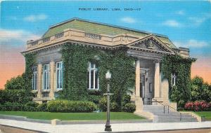 Lima Ohio~Ivy Covered Carnegie Public Library~Demolished 1995~1940s Postcard