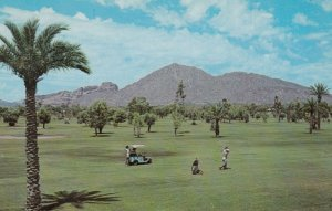 PHOENIX, Arizona, 1950-60s; Famous Camelback Mountain from Arizona Country Cl...