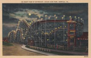 NORFOLK , Virginia, 30-40s; Skyrocket Rollar coaster at night