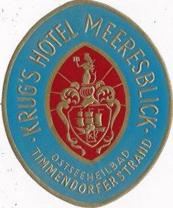 Germany Timmensdorfer Strand Krug's Hotel Meeresblick Vintage Luggage Label 2611