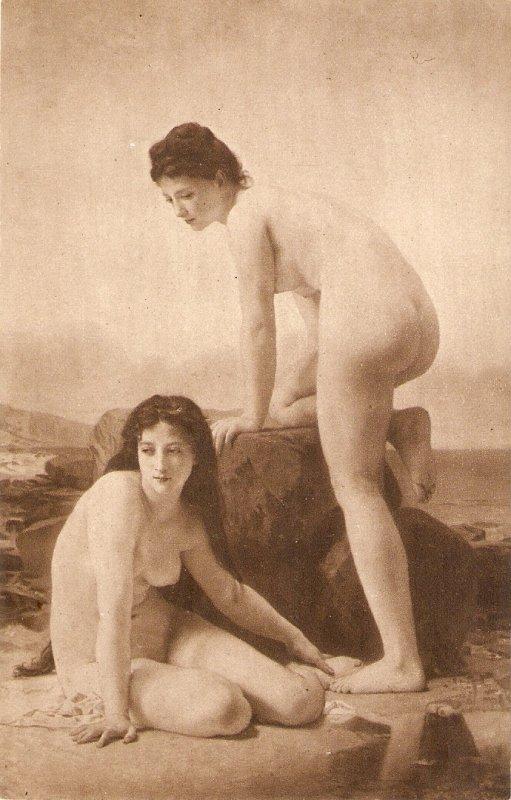Two nude ladies. The Bathers Nice old vintage English postcard