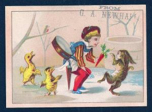 VICTORIAN TRADE CARDS (5) GA Newhall Children w/Animals
