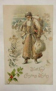 Postcard Santa With Best Christmas Wishes 1908 Grand Rapids Algonac MI 1033