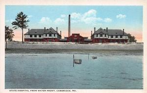 State Hospital From Water Front, Cambridge, Maryland, Early Postcard, unused