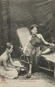 PC CPA VIETNAM, INDO CHINA, TONKIN, HAIPHONG, FEMME FUMANT, Postcard (b20218)