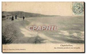 Old Postcard Chatelaillon La Falaise During a Storm