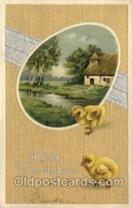 Artist Ellen Clapsaddle, Happy Easter 1909 writing bottom edge, postal used 1909