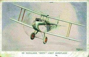 De Havilland Moth Light Aeroplane G-EBSK Postcard