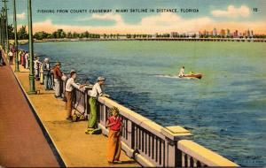 Florida Miami Fishing From County Causeway 1942
