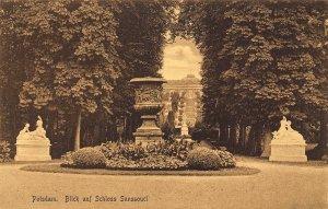 Potsdam Blick auf Schloss Sanssouci Castle Statue Postcard