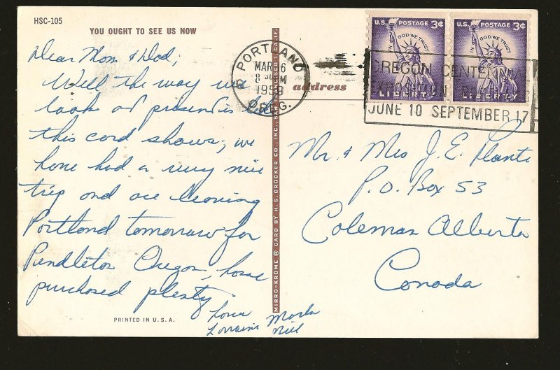 USA Postmarked 1959 Portland Oreg Martine Comic Car Color Postcard
