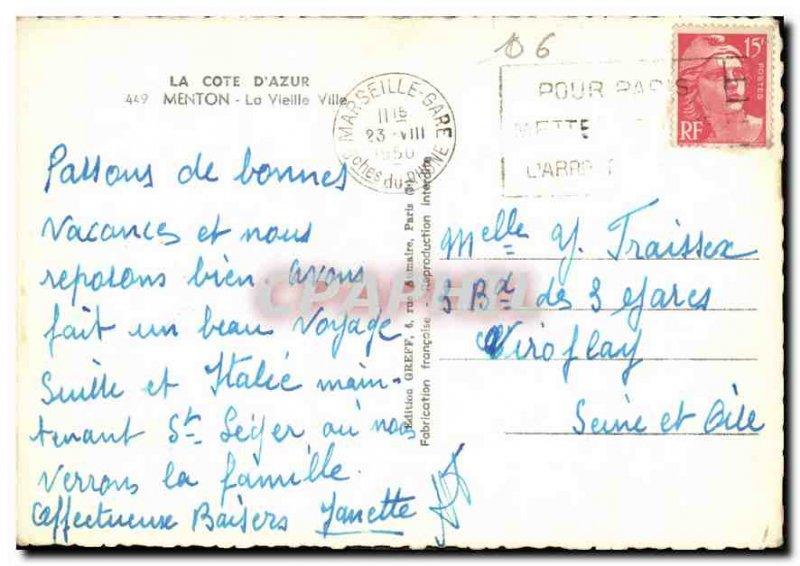 Postcard Moderne Menton Old City