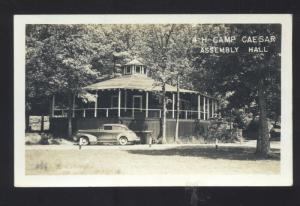 RPPC COWAN WEST VIRGINIA 4-H CAMP CAESAR OLD CARS REAL PHOTO POSTCARD