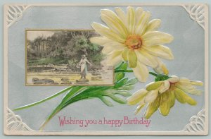 Flowers Greetings~Gorgeous Yellow Daisies~Women in Creek Portal~c1910 Postcard