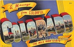 Linen Colorado, USA Postcard Post Cards Colorado, USA Linen