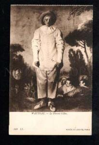 037820 Sad PIERROT Gilles. By WATTEAU vintage PC