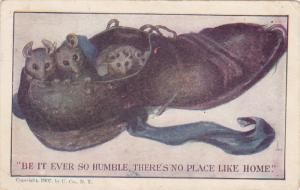 AS: Be it ever so humble there's no place like home, Mouse family in shoe, ...