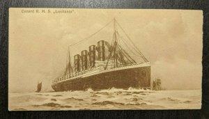 Mint Vintage Cunard R M S Lusitania Printed Matter Illustrated Postcard