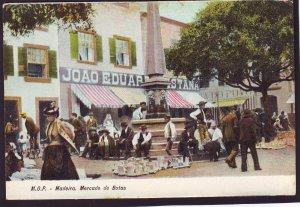 P1386 old unused postcard M.O.P.-madeira. mercado de botas mexico with people