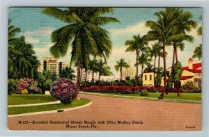 Miami FL-Florida, Miami Home and Saxony Hotel in Background Linen c1956 Postcard